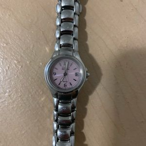 Women's citizen silver watch with pink watch face